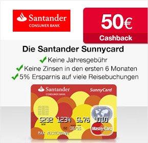[Qipu] Dauerhaft kostenlose Santander SunnyCard (MasterCard) Kreditkarte + 50 EUR Qipu Cashback