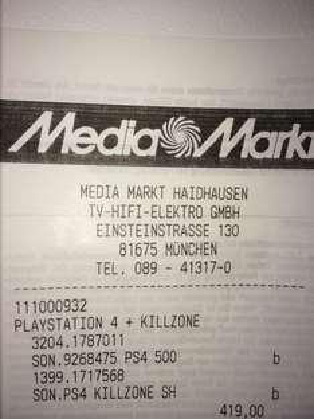 [Lokal München] Playstation 4 + Killzone Shadow Fall für 419€ bei Mediamarkt
