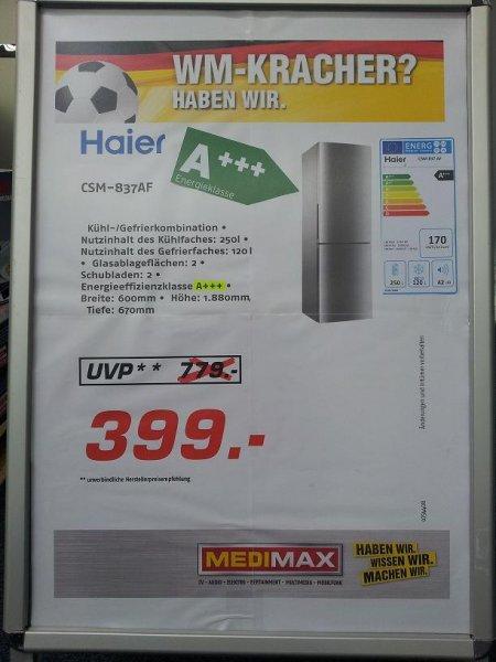 HAIER CSM 837 AF A+++ Kühlkombi für 399 € bei  MEDIMAX Pfungstadt