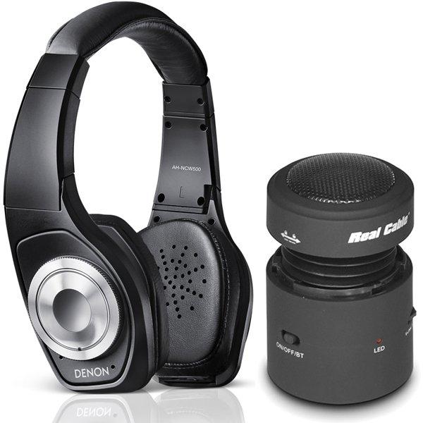 Denon AH-NCW500 Bluetooth Noise-Cancelling Kopfhörer und Real Cable iPlug-SPK10 Mini-Bluetooth Lautsprecher