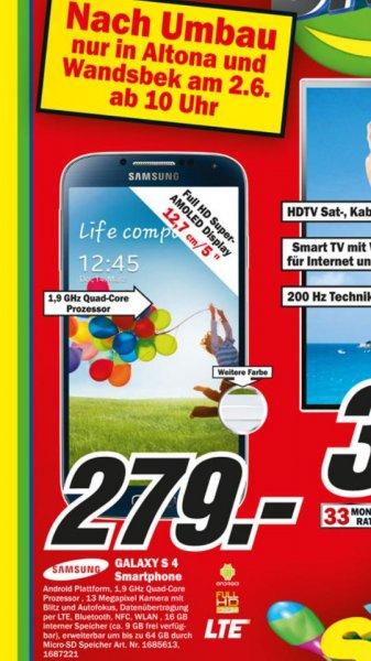 [LOKAL HH-Altona+Wandsbek] mediamarkt Samsung Galaxy S4 für 279€