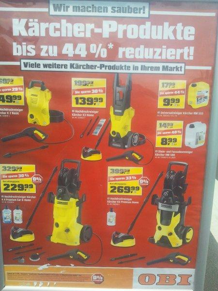 Kärcher Sale im Obi Hückelhoven, bis zu 44% reduziert (eventuell Bundesweit). Auch Online.