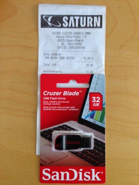 (lokal) Saturn  Essen Steele, SanDisk 32GB Cruzer Blade 10€