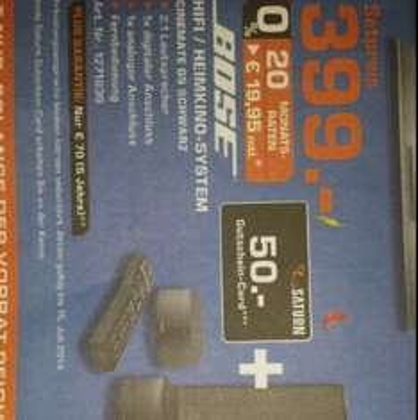 Lokal Saturn Moers Bose Cinemate GS + 50€ Saturn Gutschein