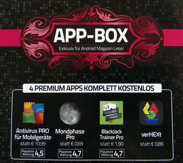 4 kostenlose Android Apps dank Androidmag - Antivirus PRO/Mondphase Pro/BlackJack Trainer Pro/verHEXt