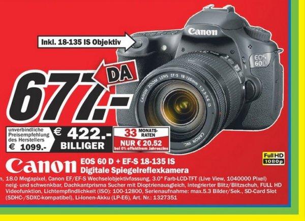 Canon EOS 60D + 18-135mm IS 677€ Lokal [Mediamarkt Mülheim an der Ruhr]