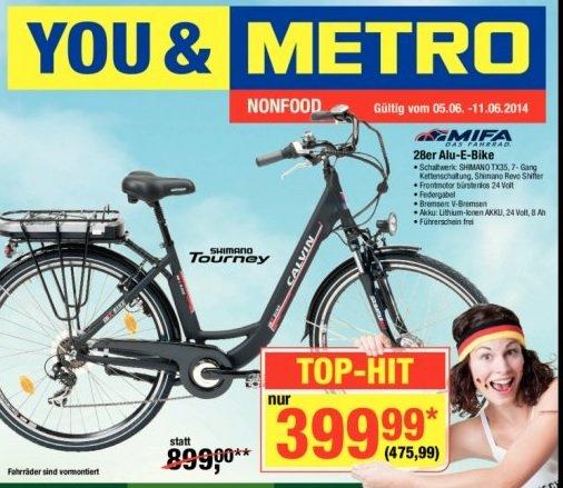 [Metro 05.06-11.06.2014] Mifa Elektrofahrrad 7 Gang für 475,99 (124€ Ersparnis)