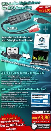 USB-Audio-Digitalisierer Q-Sonic AD-320 inkl. Audio-Software für 3,90 Euro bei Pearl