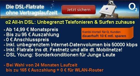 3 Monate o2 DSL All-in L VDSL mit Telefonflat (alle Netze) für 9,96 EUR @ obocom.de