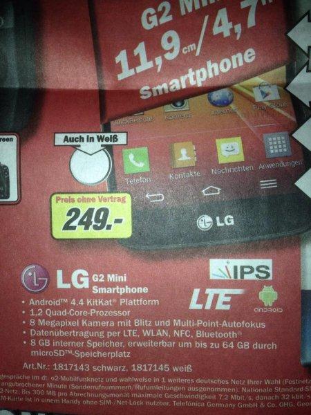 (MM Hamburg + Umland) LG G2 Mini 16GB Schwarz für 249€