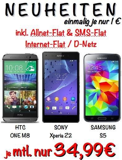 Samsung S5 / HTC One M8 / Sony Xperia Z2 mit Allnet-Flat und 1GB Datenvolumen mtl. 34,99€ (lokal im Saturn Heidelberg)