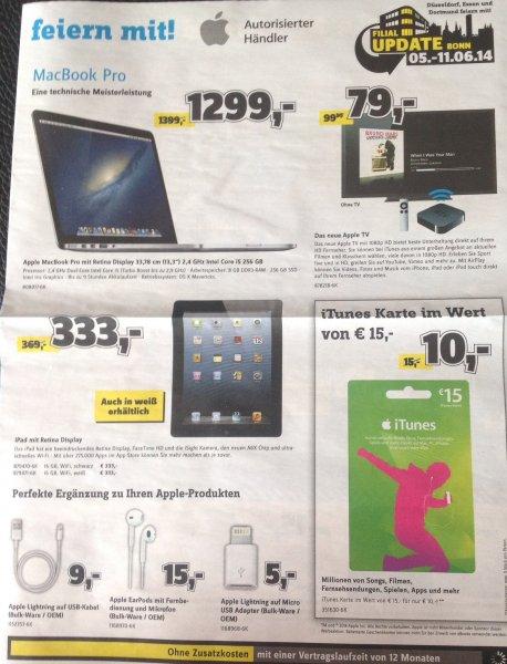 Lokal Conrad Bonn/Essen/Düsseldorf/Dortmund -- Diverse Apple Angebote z.B.: 15€ iTunes für 10€