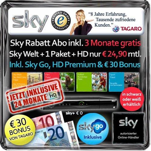 sky Welt + 1 Paket BULI/Sport/Film 24 Mon. inkl. sky+ Festplattenreceiver, sky Go und HD-Sender, 104,70 Auszahlung, Geschenk und VK-frei für 24,90€/Mon.