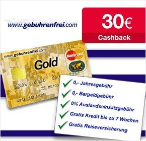Die gebührenfreie MasterCard GOLD – mit 30€ Cashback von Qipu
