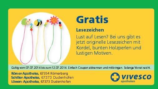 [67373 Dudenhofen] Römer/Schiller/Löwen Apotheke - Gratis originelles Lesezeichen mit Holzperlen + 10% auf Alles