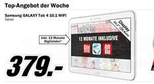 Samsung GALAXY Tab 4 10.1 WiFi inkl. digitalem Zeitungsabo für 1 Jahr