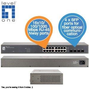 LevelOne Switch mit 16 RJ-45-Ports und Nway 4 x SFP Ports für 59,95€ zzgl. 5,95€ Versand @iBOOD