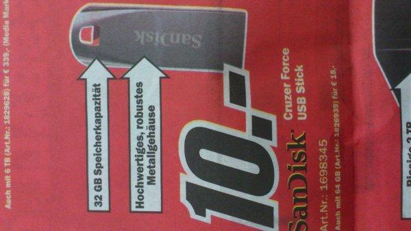 Media Markt SanDisk USB Stick Cruzer Force 32 GB 10,-€