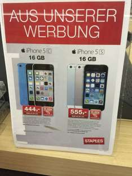 iPhone 5C 16GB 444€, iPhone 5S 16GB 555€, iPhone 5S 32GB 666€ [Staples]