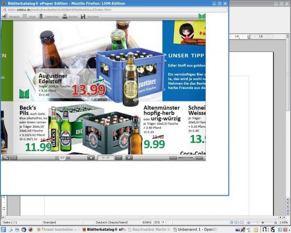 (Lokal Augsburg) Augustiner Edelstoff 20x0,5l für 13,99 -15% am Freitag 06.06.2014