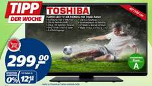 [real.de ]Toshiba, Full HD LED TV 102cm (40 Zoll), 40L1400 - TripleTuner, Full HD - bei Filialliefrung 299€