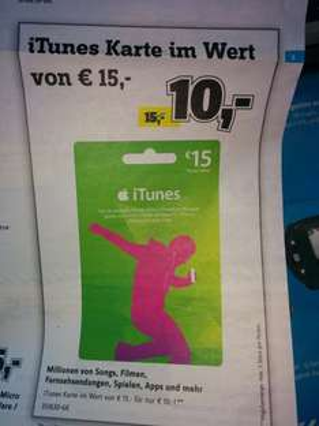 (lokal) Conrad Bonn, Düsseldorf, Essen, Dortmund iTunes Karte 15€ für 10€
