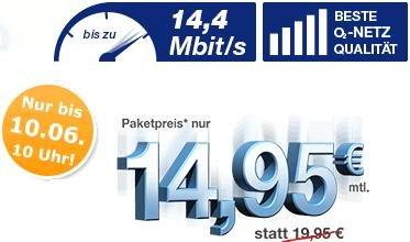 Pfingst-Aktion bei simply: Allnet-Flatrate mit SMS-Flat & 1 GB Daten für 14,95 Euro im O2-Netz Deutschlandsim 100/100/1GB 7,95 Euro