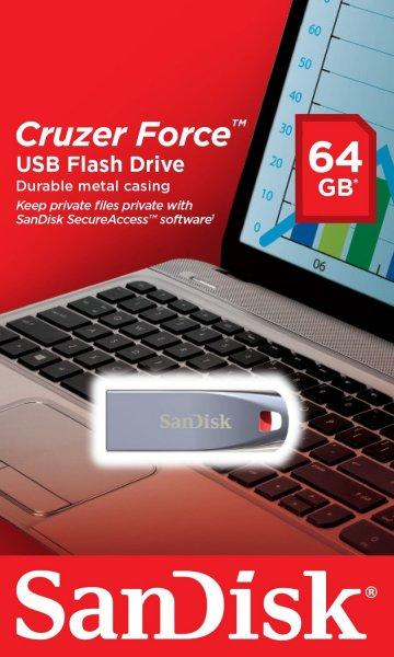 Sandisk cruzer force 64GB USB 2.0 Drive MM online für 18 €
