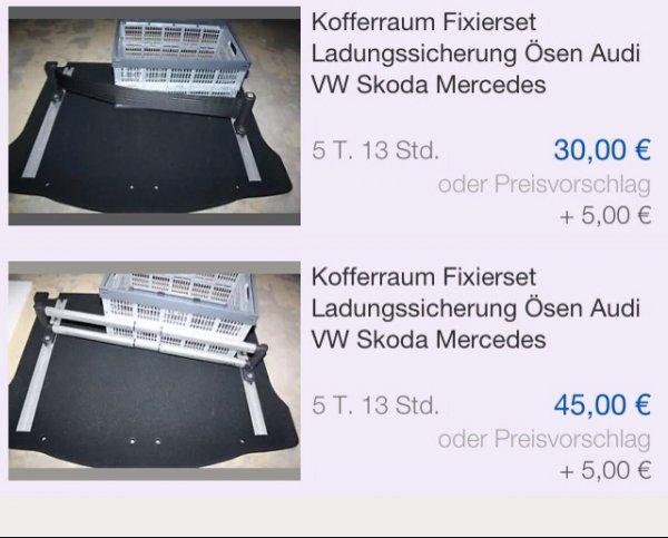 [ebay] Kofferraum Fixierset für VW, AUDI, Skoda für 50€