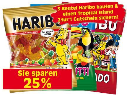 """2 für 1-Gutschein für Topical Islands für 3 Tüten Haribo in Berlin bei """"E-Reichelt"""""""