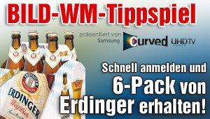 Beim kostenlosen BILD WM-Tippspiel anmelden und kostenlosen Erdinger Weißbier Sixpack erhalten (für die ersten 11.111 Anmeldungen - Aktion erst seit 07.06. 0 Uhr online!)