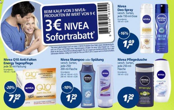 Ergänzung zu den bundesweiten Supermarkt Deals!!! Nivea for Men Pflegedusche für 86 Cent oder Nivea Deo-Spray für 1,06€  durch 3€ Sofortrabatt bei Real (Bundesweit).
