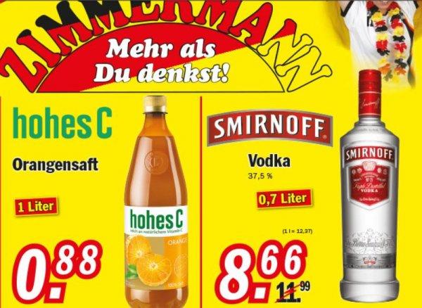 [Lokal] Zimmermann Restposten - Smirn'Off Wodka 0,7 L für 8,66 € / Hohes C 1L für 0,88 €