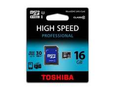 TOSHIBA 16GB MICRO SDHC CLASS 10 UHS I 30 MB/s microSDHC, UHS-1 + Adapter für 7,99 EUR (inkl. Versand)