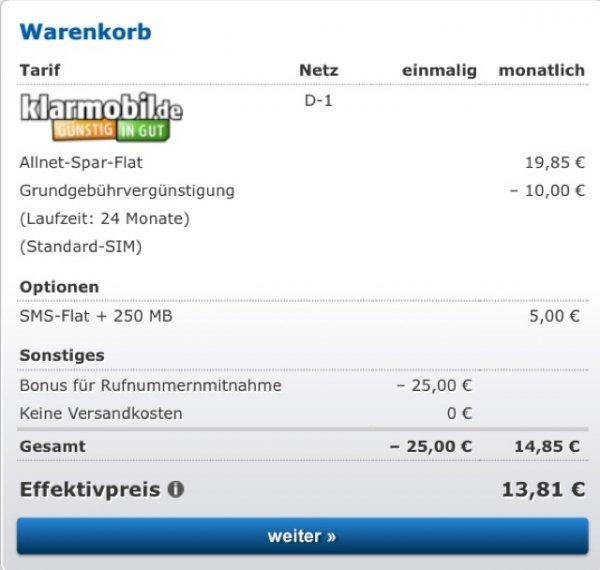 über Check24: Klarmobil Allnet+SMS Flat (D1) 500MB