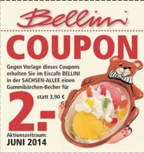 [CHEMNITZ] Coupon für ein Gummibärchen-Eis bei Bellini in der Sachsen-Allee für 2€ statt 3,80€