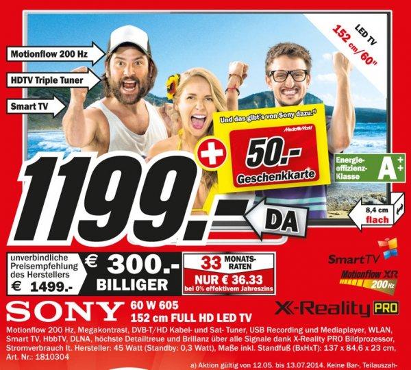 Sony KDL-60W605B für 1199€+(50€ Gutschein) Lokal [Mediamarkt Duisburg,Essen,Mülheim,Velbert,Recklinghausen,Dorsten]