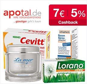 Apotal Apotheke: 7€ Cashback für Neukunden (10€ MBW) + 5% Cashback. Ab 10€ Versandkostenfrei.