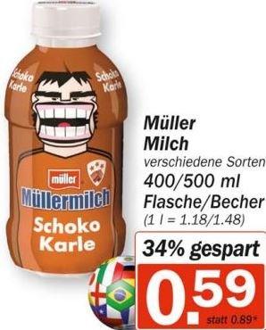 [HIT] : Müllermilch versch. Sorten 400-500 ml für 0,59 €