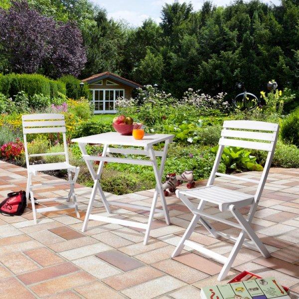 Garten-Set Sunny (3-teilig) - Akazie massiv - Weiß. 59,99 €, Kostenloser Versand.