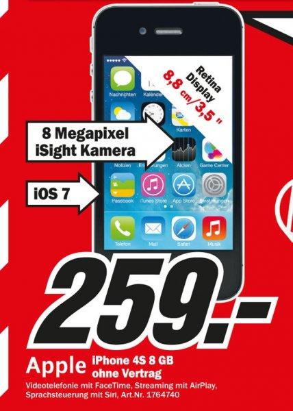 iPhone 4S 8GB für 259€,Sony KDL-42W655 für 469€ Lokal [Mediamarkt Hamburg Nedderfeld]