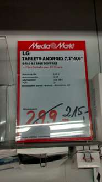 "[Mediamarkt Schwäb. Gmünd] LG G Pad 8.3 21 cm (8"") Full-HD IPS16 GB Wifi, Tablet weiß/schwarz 215€ [LOKAL]"