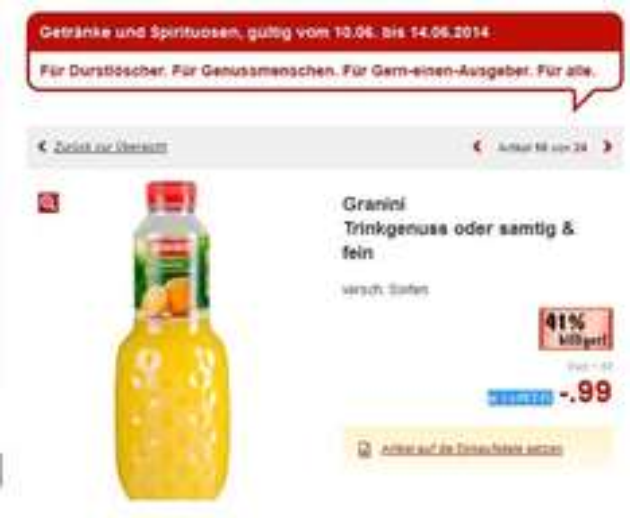 [Kaufland]  Granini Trinkgenuss oder samtig & fein   versch. Sorten  0,99€