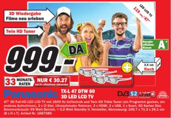 Media-Markt (evtl. nur lokal Kassel) Panasonic TX-L 47 DTW 60    999€