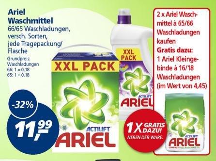 (Lokal Real) Ariel Waschmittel verschiedene Sorten (Flüssig, Pulver, weiß, color) Max 158 WL für 22,48€