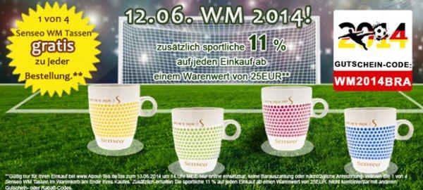 11% WM-Aktion auf Ihren Einkauf bei www.About-Tea.de + Senseo WM Tasse
