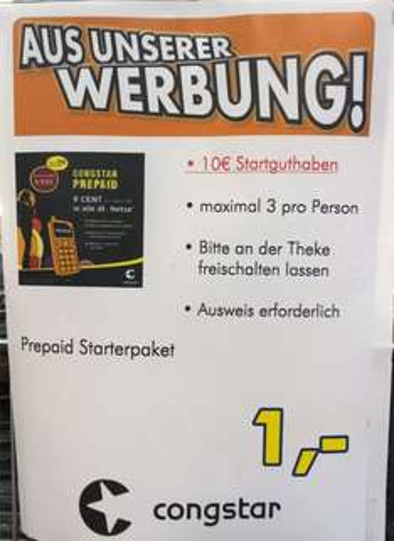 [Lokal Ratingen] congstar Prepaidkarte mit 10€ Guthaben für 1€ bei Euronics XXL Johann&Wittmer