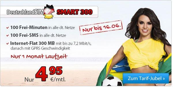 DeutschlandSIM Smart 300 für 4,95€ im Monat – 100 Minuten, 100 SMS, 300 MB Internet, 1 Monat Mindesvertragslaufzeit