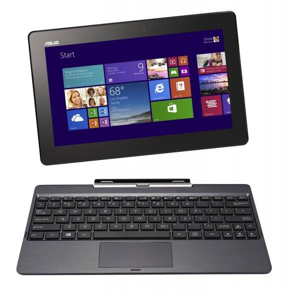 Asus Transformer Book T100TA 25.65 cm (10.1 Zoll) Convertible Tablet PC (Intel Atom Quadcore Z3740 1,3GHz, 2GB RAM, 32GB HDD, Intel HD, Windows 8 Touchscreen) grau von ASUS Computer