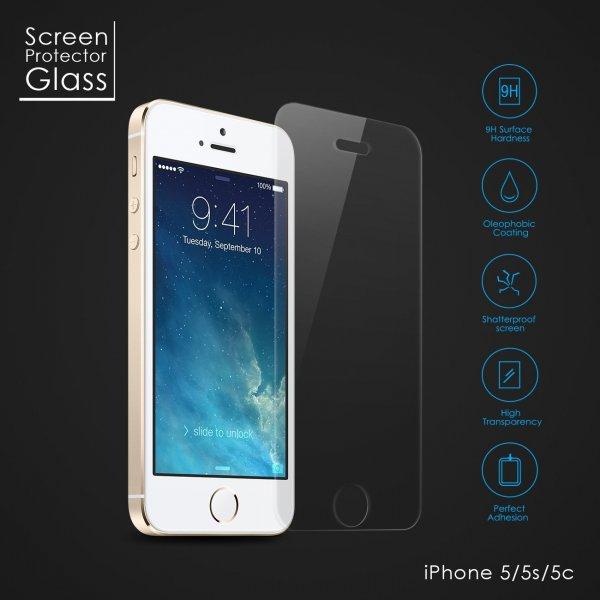 Displayschutz Folie aus gehärtetem Glas 0,26mm dünn 9H für iPhone 5, 5s, 5c für 5,99€